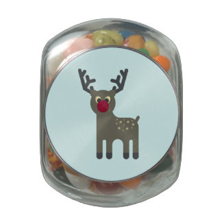 Red Nosed Reindeer Glass Jars