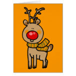 Red-nosed reindeer greeting cards