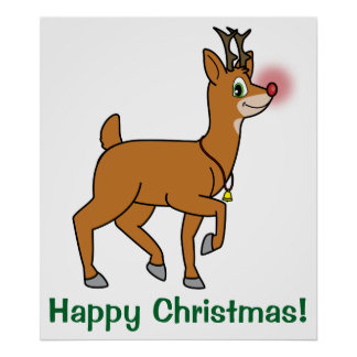 Red-Nosed Reindeer Happy Holidays Poster