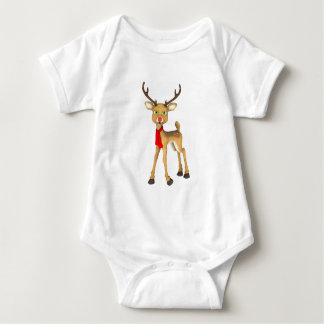 Red Nosed Reindeer Holiday Baby Baby Bodysuit