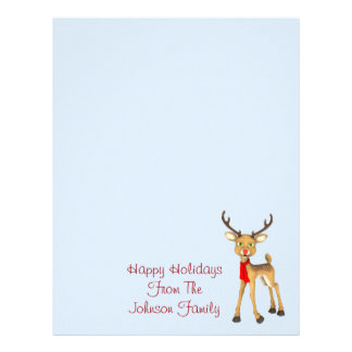 Red Nosed Reindeer Holiday Letterhead