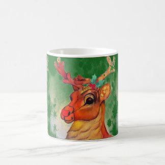 Red Nosed Reindeer Mug Green Background
