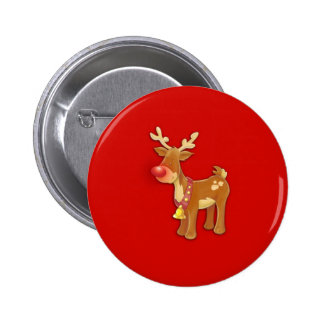 Red Nosed Reindeer Red 2 Inch Round Button