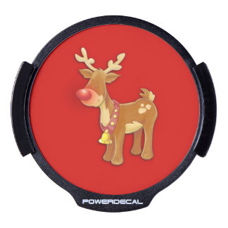 Red Nosed Reindeer Red LED Window Decal