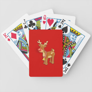 Red Nosed Reindeer Red Bicycle Playing Cards