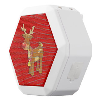 Red Nosed Reindeer Red White Bluetooth Speaker
