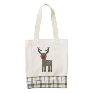 Red Nosed Reindeer Zazzle HEART Tote Bag