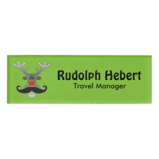 Red Nosed Rudolph with Moustache + your idea Name Tag