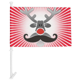 Red Nosed with Moustache + your idea Car Flag