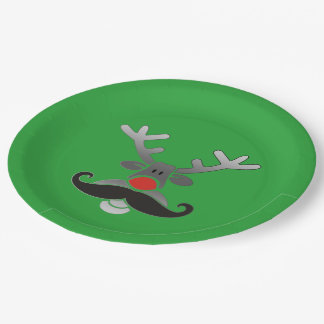 Red Nosed with Moustache + your idea 9 Inch Paper Plate