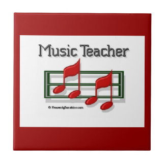 Red Notes Music Teacher Small Square Tile
