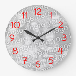 Red Numbers Wall Clock