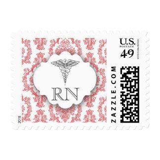 Red Nurse Damask Caduceus RN Postage Stamp