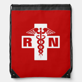Red Nurse RN or Initials Drawstring Backpack