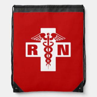 Red Nurse RN or Initials Drawstring Backpacks