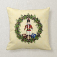 Red Nutcracker Wreath Christmas Throw Pillow
