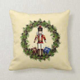 Red Nutcracker Wreath Christmas Throw Pillow