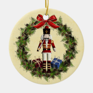 Red Nutcracker Wreath Round Ornament