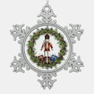Red Nutcracker Wreath Snowflake Ornament