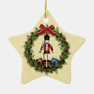 Red Nutcracker Wreath Star Ornament