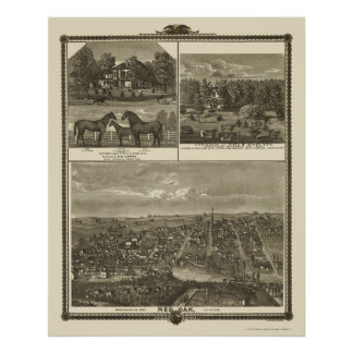 Red Oak, IA Panoramic Map - 1875 Poster