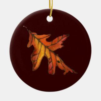 Red Oak Leaf Ceramic Ornament