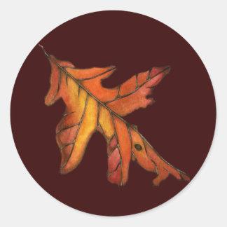 Red Oak Leaf Round Stickers