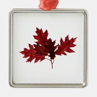 Red Oak Leaves Metal Ornament