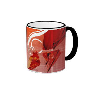 Red objects with white lines ringer mug