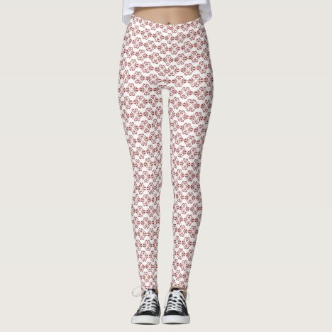 Red Ochre damask on white background Leggings