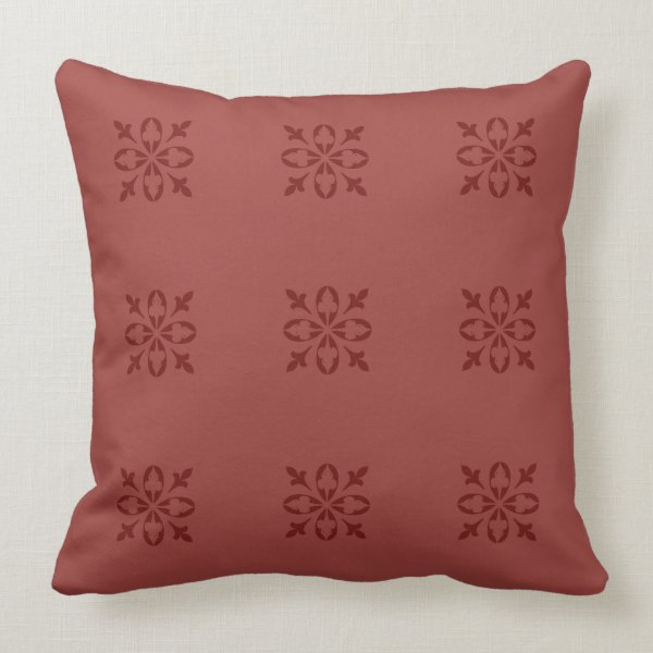 Red Ochre Tan Moroccan French Damask Throw Pillow