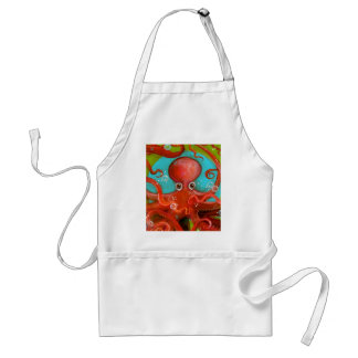 Red Octopus 1 Design Adult Apron