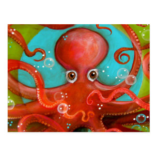 Red Octopus 1 Design Postcard