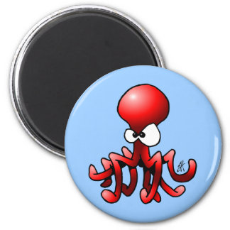 Red Octopus 2 Inch Round Magnet