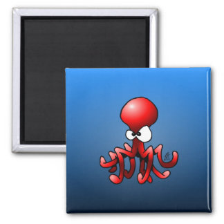 Red octopus 2 inch square magnet