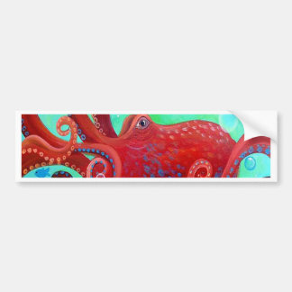 Red Octopus Bumper Sticker