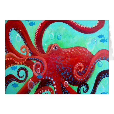 Beach Themed Red Octopus Card