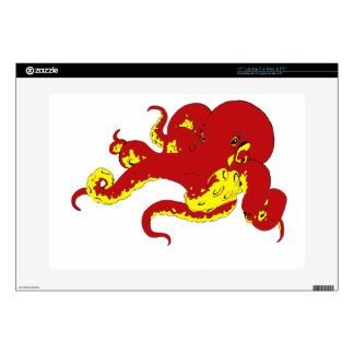 """Red Octopus Decal For 15"""" Laptop"""