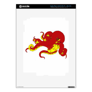 Red Octopus Decals For iPad 3