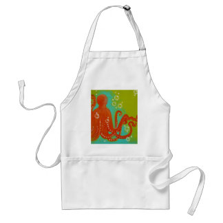 Red Octopus Design Adult Apron
