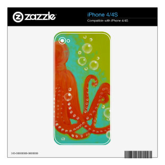 Red Octopus Design Decals For The iPhone 4S