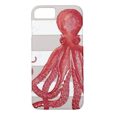 Beach Themed Red Octopus Grey Stripe Beach Nautical Vintage Art iPhone 7 Case