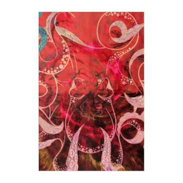 Art Themed Red Octopus Illustration Acrylic Print