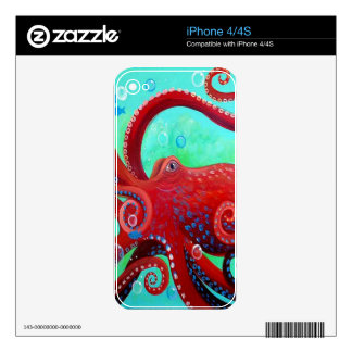 Red Octopus iPhone 4 Decal
