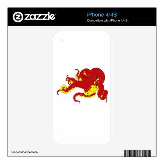 Red Octopus iPhone 4 Decals