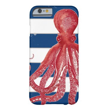 Beach Themed Red Octopus Navy Striped Beach Nautical Vintage Barely There iPhone 6 Case