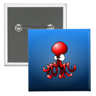 Red octopus pinback button