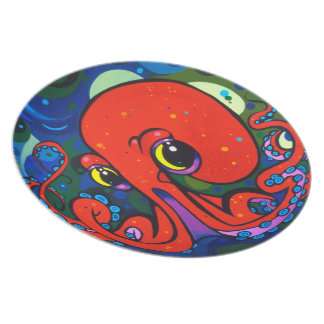 Red Octopus Plate by Patrick Moran