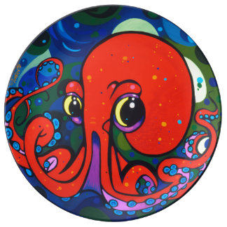 Red Octopus Porcelain Plate by Patrick Moran.