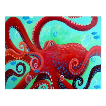 Beach Themed Red Octopus Postcard